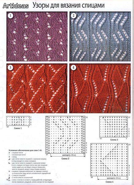 схема вязания спицами узора для